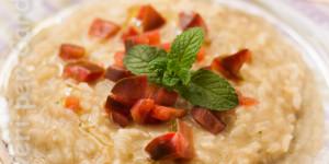 Risotto con mousse di melanzane e pomodori di pachino