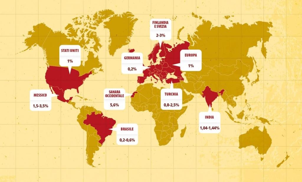 Mappa della diffusione mondiale della celiachia