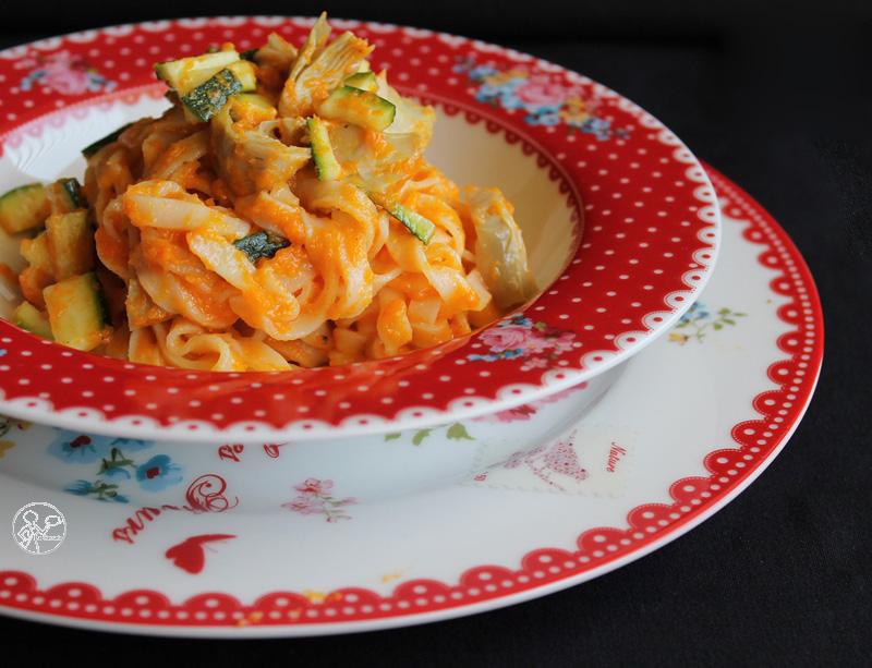 tagliatelle crema di zucca, zucchine e carciofi - Gluten Free travel and Living