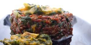 Riso rosso, zucca e spinaci