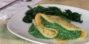 Crepes vegan con spinaci