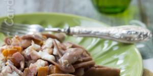 Trofie di castagne con zucca, burrata e pancetta