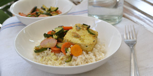 Riso semi integrale con verdure e tofu al curry