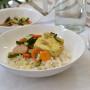 Riso semi integrale con verdure e tofu al curry