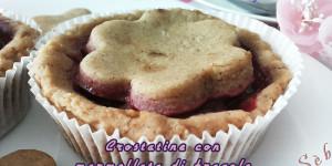 Crostatine senza glutine e vegan con marmellata di fragole senza zucchero fatta in casa