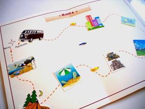 Durante il vostro viaggio arricchite la mappa con le immagini che avrete stampato a secobda dei luoghi in cui siete stati.