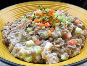 insalata di lenticchie con salsa di yogurt e senape  - Gluten Free Travel & Living