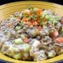 Insalata di lenticchie con brunoise di verdure e salsa di yogurt alla senape