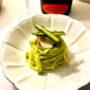 Spaghetti al pesto di asparagi e capesante